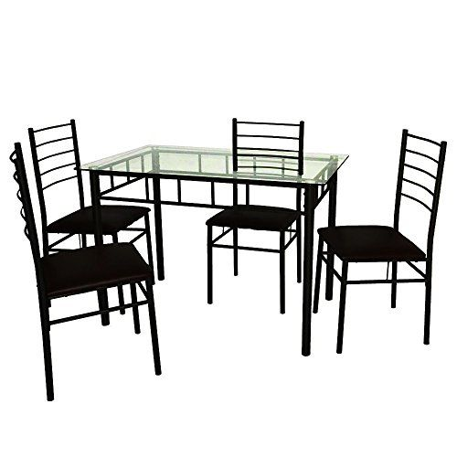 Efd Tempered Glass Dining Table Set Of 5 Pieces Sitting For 4