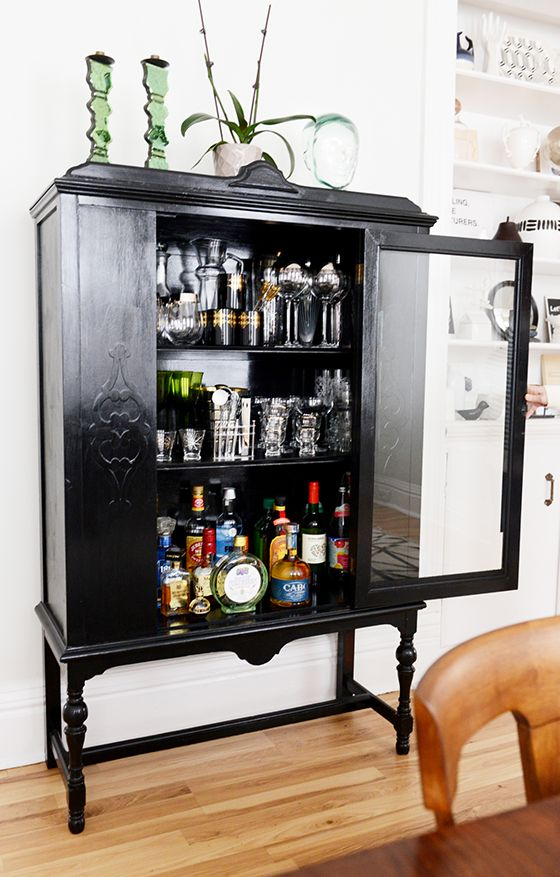 I miss having this cabinet, can't remember what I did with it - Old cabinet used as a home bar