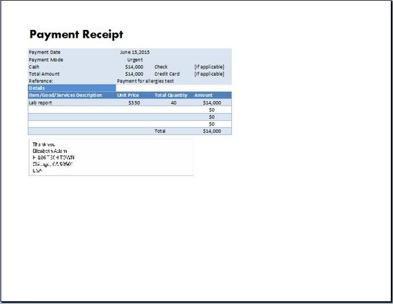 MS Excel Payment Receipt Template Collection of Business - payment receipt