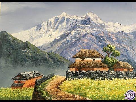 Painting Of A Beautiful Nepali Village Landscape Painting Village Painting Landscape Paintings Landscape Painting Techniques Beautiful Landscape Paintings