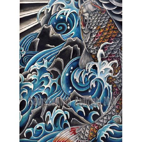 Koi in waterfall art print by sebastian orth japanese for Dragon koi for sale
