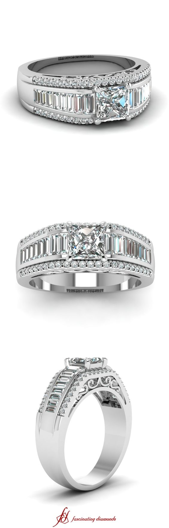 Palatial Ring || Princess Cut Diamond Side Stone Ring With White Diamond In 14K White Gold