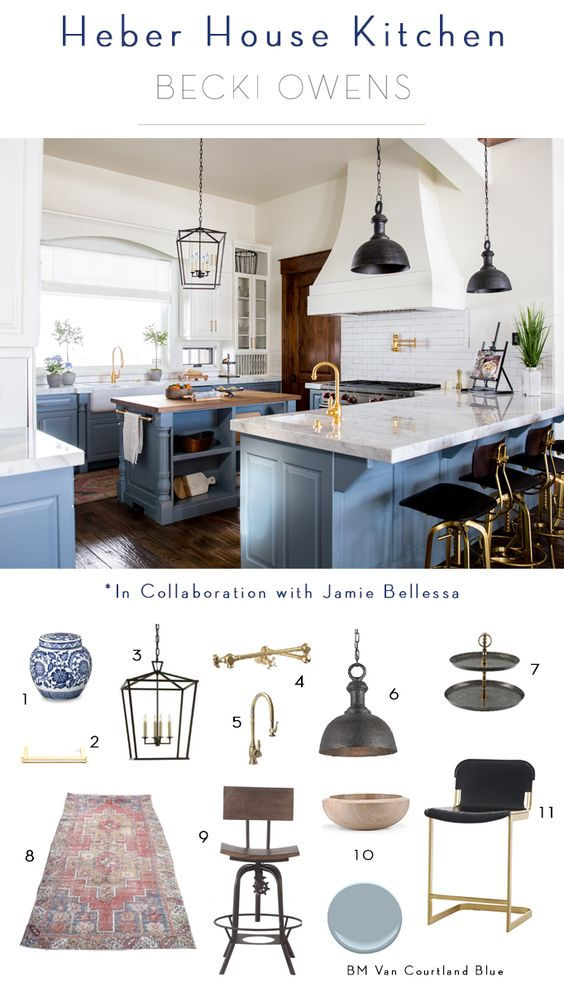 heber house kitchen Becki Owens + Jamie Bellessa - Blue Farmhouse Kitchen