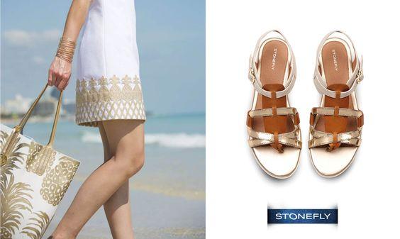 Oro e bianco per questa versione super chic dei #sandali Alysia. Abbinali ad un caftano leggero e a una maxi borsa per la spiaggia!