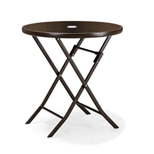 Axdwfd Folding Table Tempered Glass Tabletop Wrought Iron Frame