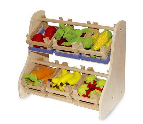 """Verkaufsständer. Die kleine Verkaufshilfe eignet sich sehr gut zum Präsentieren der kleinen """"Leckereien"""" in den Kaufläden! Am besten 2 Sets von """"Kleine Kiste natur"""" mitbestellen! ca. 33 x 18"""