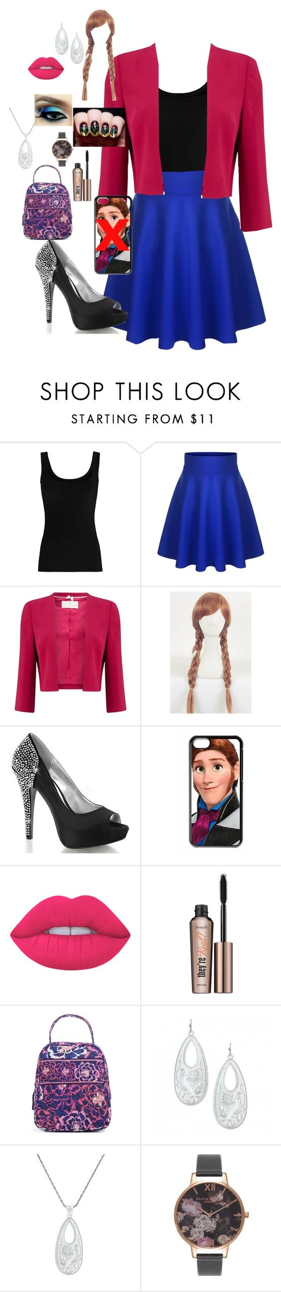 """Anna"" by crazedfangirl ❤ liked on Polyvore featuring Twenty, Jacques Vert, Disney, Lime Crime, Benefit, Vera Bradley and Olivia Burton"