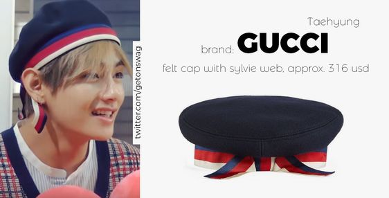 "Beyond The Style ✼ Alex ✼ on Twitter: ""TAEHYUNG #BTS 171121 (requested)  #TAEHYUNG #태형 #방탄소년단 GUCCI - Felt cap with Sylvie Web… """