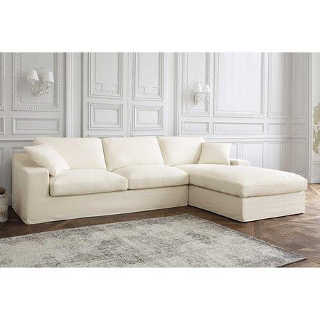Canapé d'angle droit 5 places en coton gris clair Stuart | Maisons du Monde