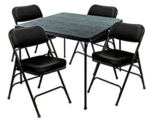 Kitchen Table And Chairs Heavy Duty Amazon Com Heavy Duty 5 Piece Xl Card Table And Ultra Padded Chair Set In In 2020 Wooden Kitchen Table Chair Pads Pub Dining Set