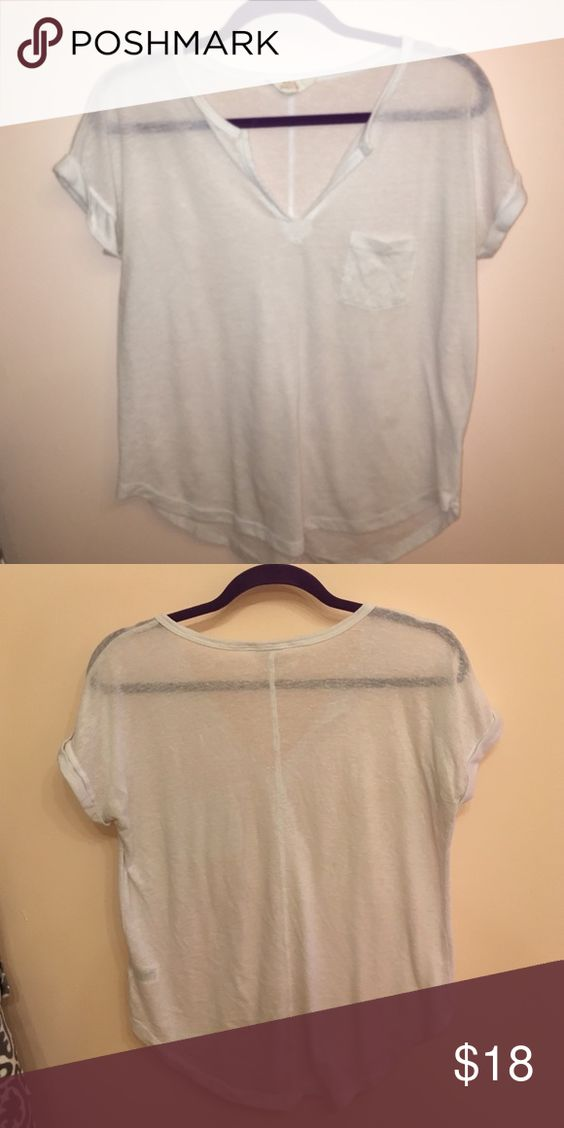 UO sun and shadow white shirt worn >5 times. Like new. No pit stains or any stains on it. Slightly sheer but wearing just a bralette underneath is enough. Cheaper on Mercari Urban Outfitters Tops Tees - Short Sleeve
