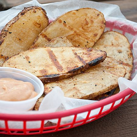 Grilled Potatoes with BBQ Dipping Sauce - oh man I need a mandolin! These look so good!