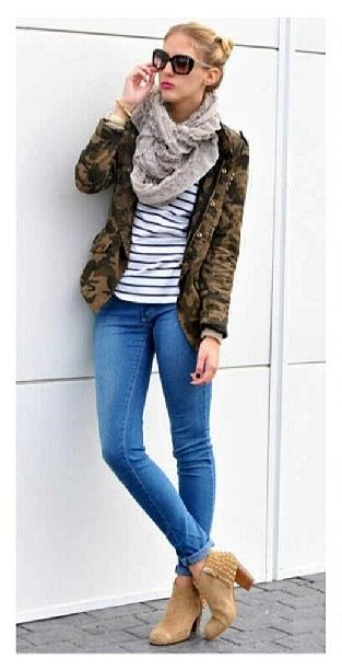 Fall Outfit- Camo and Stripes