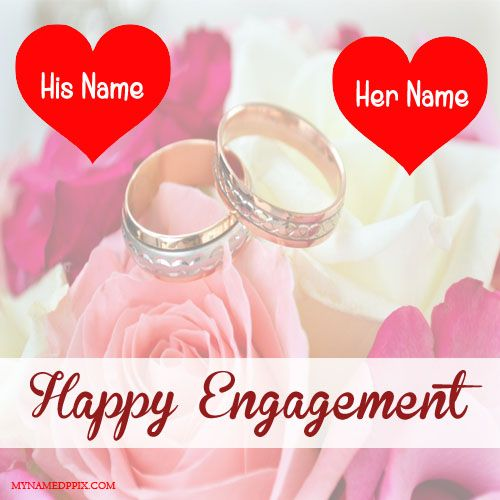 Beautiful Engagement Greeting Card With Name Image With Images