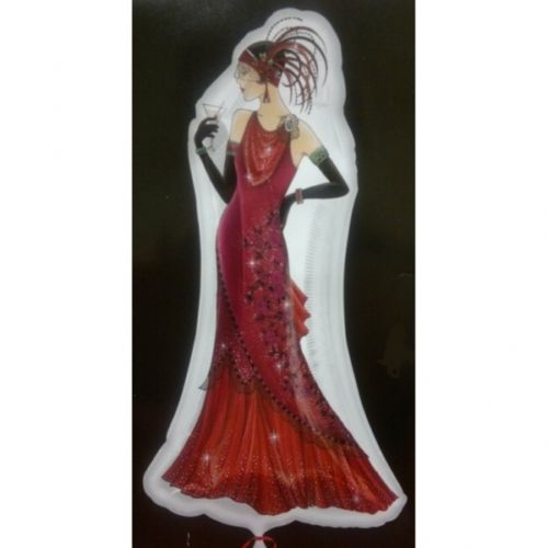 ART-DECO-LADY-1920s-THEMED-DOUBLE-SIDED-LARGE-SUPERSHAPE-35-FOIL-BALLOON