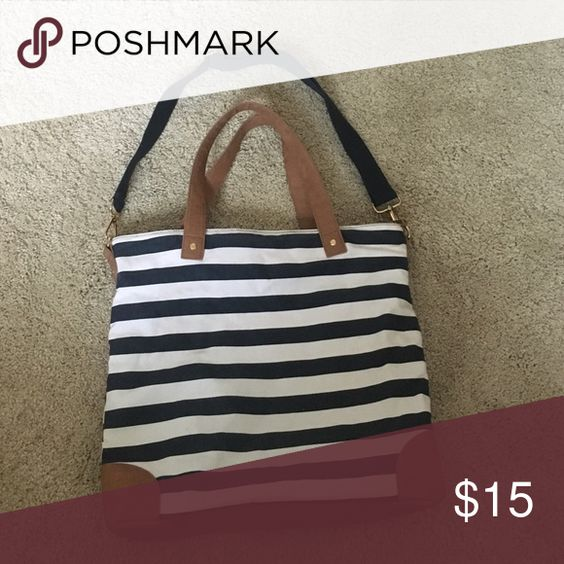 """Merona Nautical Tote Bag 16""""x16""""x3 Merona tote bag. Used a handful of times. Excellent used condition. Zip closure top. Inside zip pocket and two open pockets. Navy, cream and tan. Merona Bags Totes"""