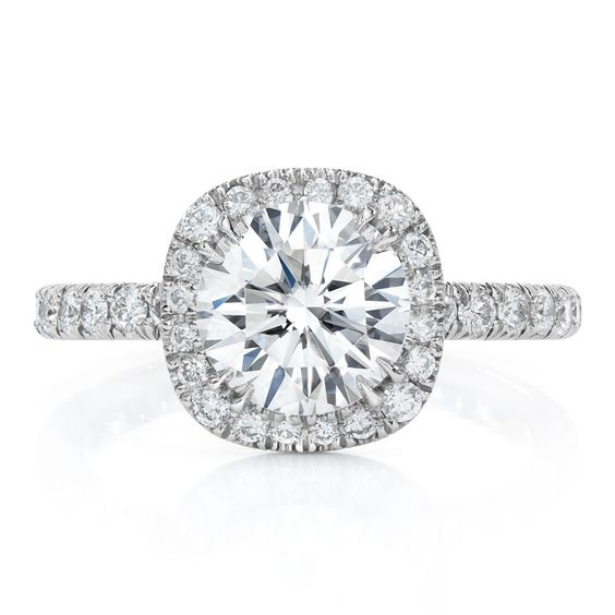 Round diamond set in cushion halo Wedding Pinterest