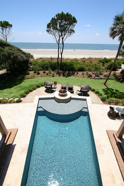 Sea pines oceanfront view from home overlooking pool with for Pool design with sun shelf