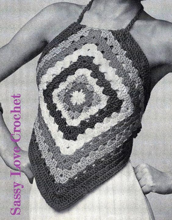 Crochet Easy granny Square Halter Top Pattern by SassyloveCrochet