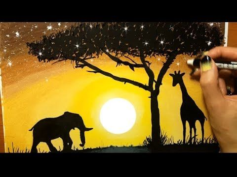 Landscape In Colored Pencil Sunset In Africa Drawing Nature Animals Elephant Giraffe Scenery Tree Y Africa Drawing Tree Drawings Pencil Landscape Drawings