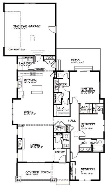 Floor plan for narrow lot floor plans for narrow houses for Bungalow house plans for narrow lots