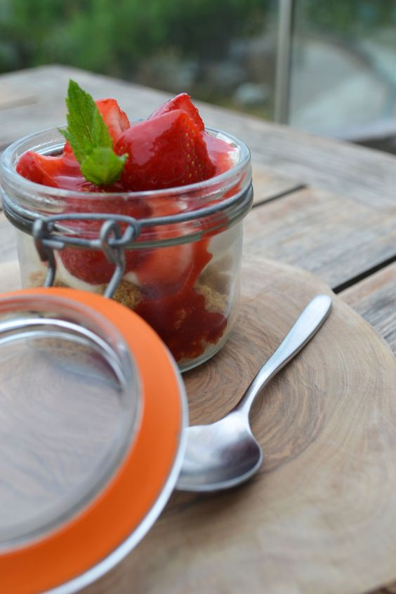 Make this delicious potted strawberry cheesecake with biscuit crumb, vanilla and lemon cream cheese, strawberries and coulis. As served in Watergate Bay Hotel's living space.