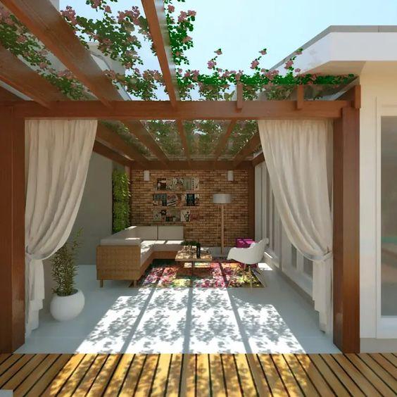 14 pergolados de madeira para quintais e jardins pequenos
