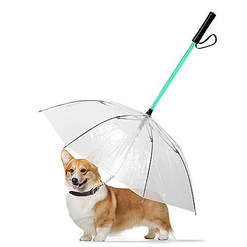 Decdeal Pet Dog Umbrella Led Glowing Transparent Waterproof Pet Umbrella With Flashlight Handle For Dog Night Walk De Dog Umbrella Dog Leash Training Pet Dogs