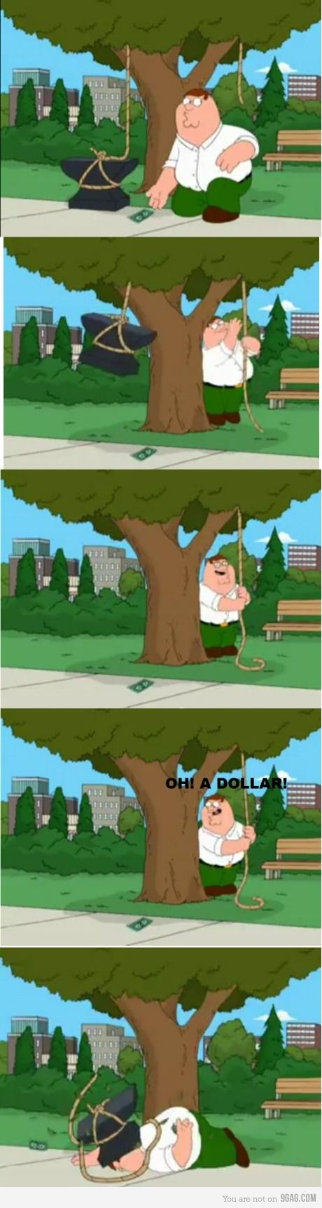 Peter Griffin is the oft drunk patriarch of his family but he is thwarted by his toddler son and is not respected by his kids.