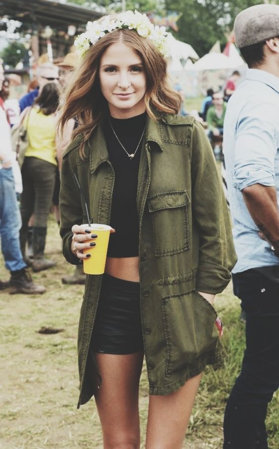 Festival Style - Millie Mackintosh wearing a khaki millitary style jacket, cropped black tee & black shorts with a crown of flowers to add a dash of boho chic...x: