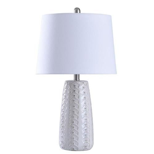 Stylecraft Home Collection L27777ds Shannon One Light Table Lamp In 2021 Table Lamp White Table Lamp Fabric Shades