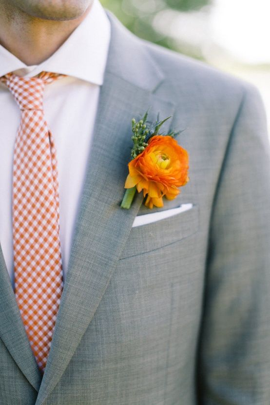 Groom Attire! Pale grey suits with orange accents. Sharp! Photo by @Jess_Barfield Boutonniere by @StemsOfDallas