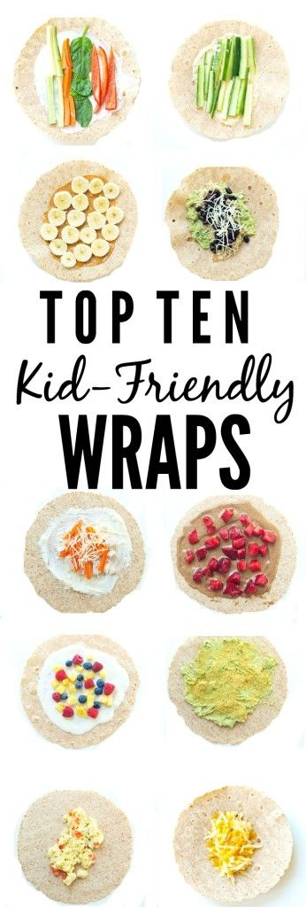 Top 10 Kid-friendly Wraps.   Great ideas to get out of the sandwich rut…: