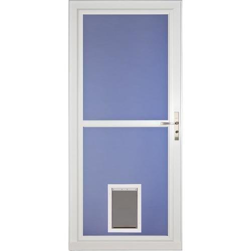 Larson Tradewinds Pet Door White Full View Aluminum Storm Door Common 36 In X 81 In Actual 35 75 In X 79 75 In At Aluminum Storm Doors Storm Door Pet Door