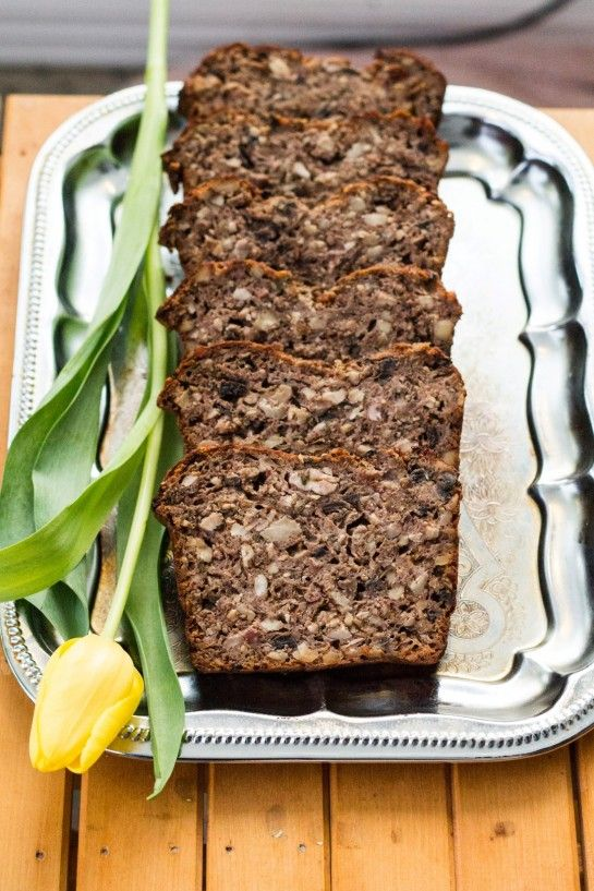 """Vegetarian """"Meat"""" Loaf - Nut Roast with walnuts, almonds, mushrooms and cheese."""