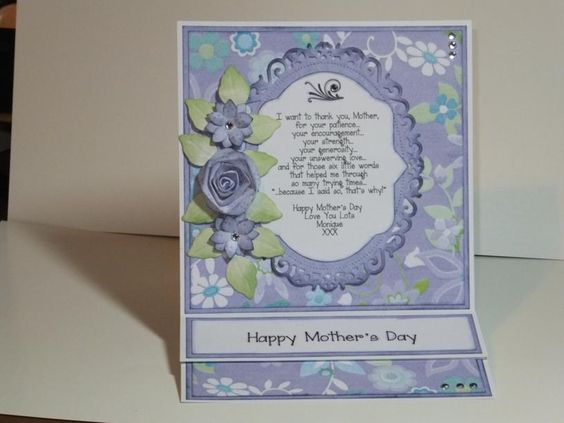 (Ref:B36) 15cm x 15cm easel card. Used Nitwit Promises papers and various dies to make a Mother's Day card.