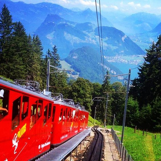 The cog railway up Mt Pilatus in Lucerne - what a magnificent view!! #travelblog #traveladdict #travelblogger #travel #travelphotography #switzerland #swiss #mtpilatus #mtpilatus #lucerne #luzern #wanderlust #cograilway #train #beautifulview @lucerne_swit