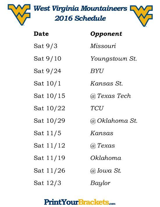 Printable West Virginia Mountaineers Football Schedule 2016