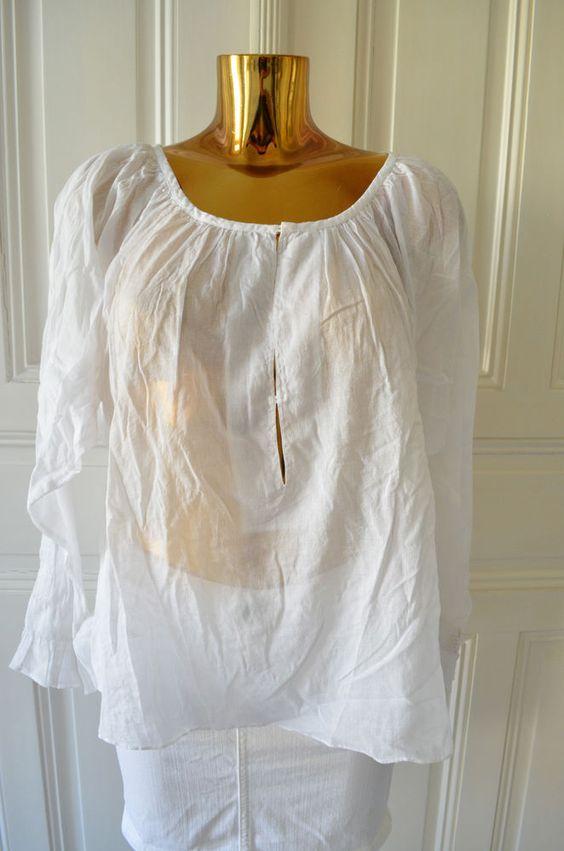 HUNKYDORY Damen Bluse Tunika großer Rundhals Weiß Baumwolle Leicht Gr.M Neu!
