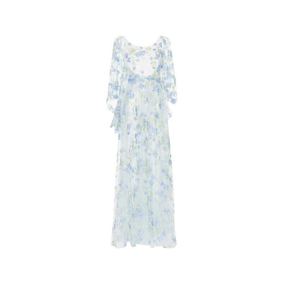 Luisa Beccaria     Tulle Embroidered Flowers Maxi Dress (31.780 BRL) ❤ liked on Polyvore featuring dresses, floral dresses, sleeved maxi dress, floral print maxi dress, maxi dresses and floral maxi dress