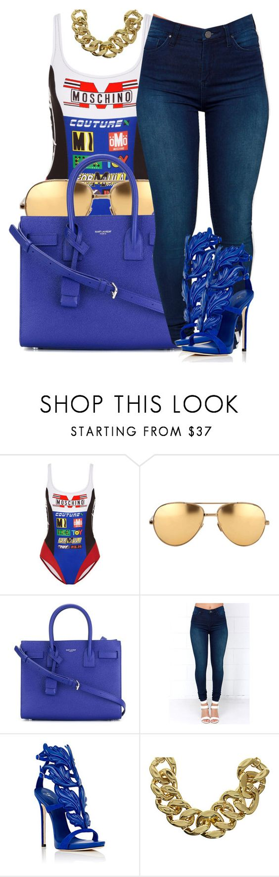 """Untitled #29"" by bonbonkabengele ❤ liked on Polyvore featuring Moschino, Linda Farrow, Yves Saint Laurent, BLANKNYC, Giuseppe Zanotti and ASOS"