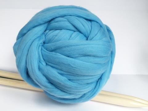 Merino Wool Yarn. Super Chunky. Sky Blue