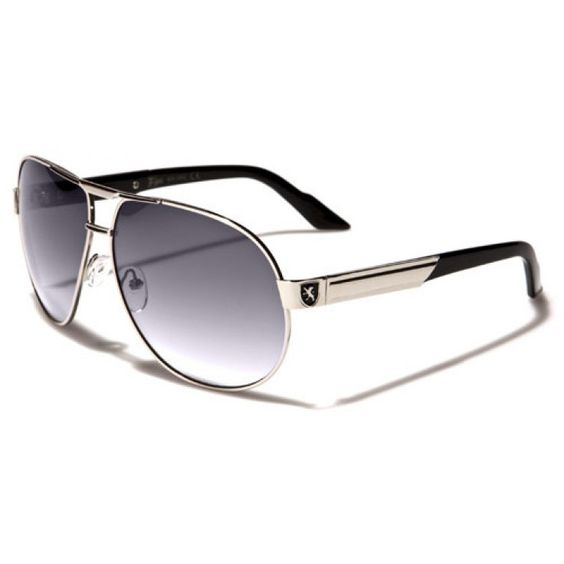 Khan Mens Aviator Polarized Sunglasses Black and Silver with Gray Lenses and Black Logo