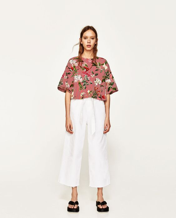 ZARA - WOMAN - PRINTED TOP WITH ELASTIC SLEEVES