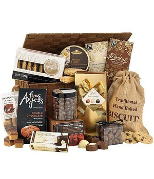The Chocolate Chaser - This sophisticated chocolate hamper is delivered in a woven lidded basket and is perfect for any chocoholic! #chocolate #hampers #bunchesuk