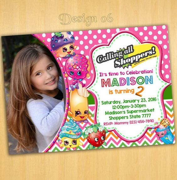 He encontrado este interesante anuncio de Etsy en https://www.etsy.com/es/listing/241630456/shopkins-invitation-shopkins-birthday: