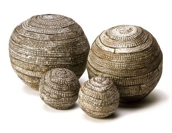 Fir balls, stoneware spheres, by Brenda Holzke - gallery - banded: