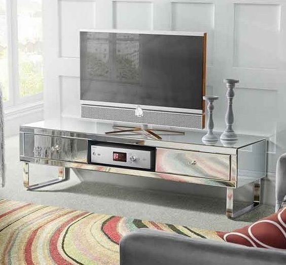 Mirrored TV Stand Glass Cabinet Contemporary Decor Vintage