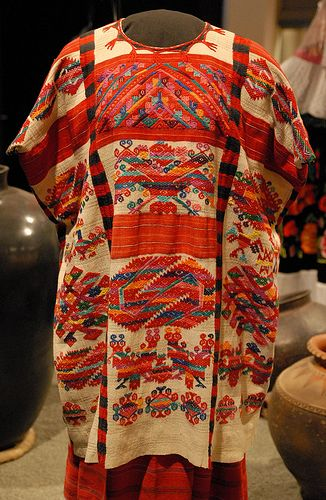 This beautiful handwoven huipil is part of the collection of the anthropology museum. Mexico City. It is probably Chinantec and originated in the area of Santiago Quetzalapa Oaxaca