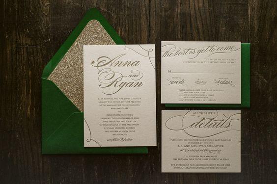 Metallic Emerald & Gold Letterpress Wedding by JustInviteMe, $12.50